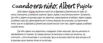 Spanish Imperfect Reading Activity- cuando era niño: Alber