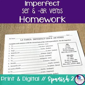 Spanish Imperfect Ser & -AR verbs Homework