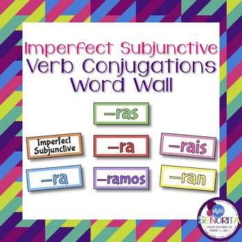 Spanish Imperfect Subjunctive Verb Conjugations Bulletin Board Set