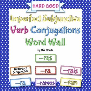 Spanish Imperfect Subjunctive Verb Conjugations Word Wall {HARD GOOD}