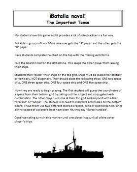 Spanish Imperfect Tense Battleship (Batalla naval - El imperfecto)