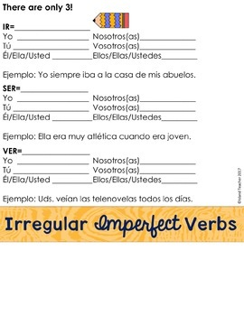 Spanish Imperfect Tense Digital Flip Book