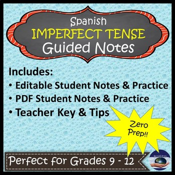 Spanish Imperfect Tense - Guided Notes and Key