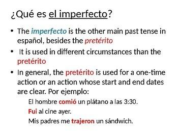 Spanish Imperfect Tense Notes (El imperfecto)