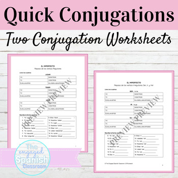 Spanish Imperfect Tense Quick Conjugations Worksheets