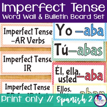 Spanish Imperfect Tense Verb Conjugations Word Wall & Bulletin Board Set