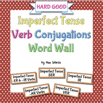 Spanish Imperfect Tense Verb Conjugations Word Wall {HARD GOOD}