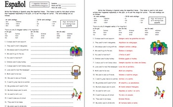 spanish imperfect tense verbs worksheet 17 sentences by sue summers. Black Bedroom Furniture Sets. Home Design Ideas