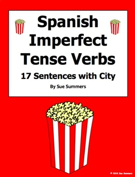 Spanish Imperfect Tense Verbs with City Vocabulary Worksheet - 17 Sentences