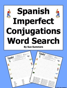 Spanish Imperfect Tense Word Search Puzzle and Image IDs