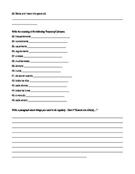 Spanish Imperfect Worksheet Bundle