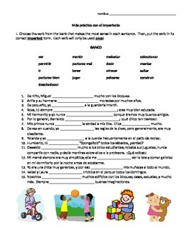 Spanish Imperfect worksheet, Realidades 2 Chapter 4A, conjugation practice