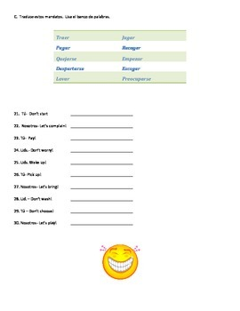 Spanish Imperitive: Activity/Quiz sheet using Spanish commands