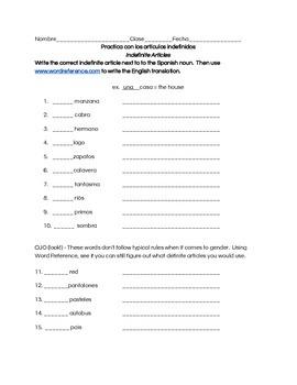 Spanish Indefinite Article Practice