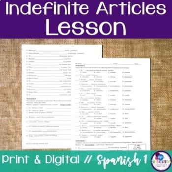 Spanish Indefinite Articles Lesson