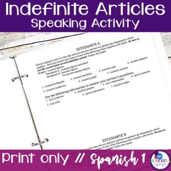 Spanish Indefinite Articles Speaking Activity