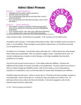 Spanish Indirect Object Pronoun Choral Reading