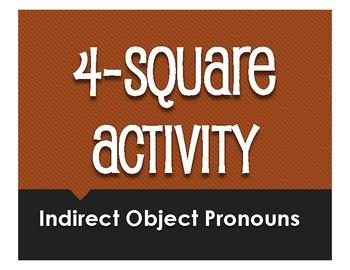 Spanish Indirect Object Pronoun Four Square Activity