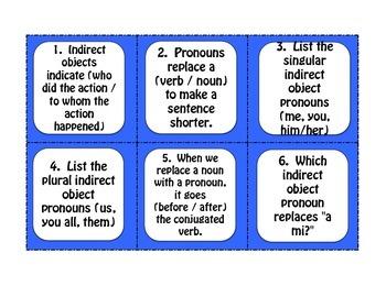 Spanish Indirect Object Pronoun Task Cards