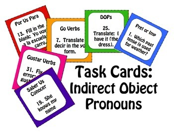 Spanish Indirect Object Pronoun Task Cards