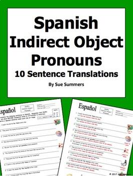 Spanish Indirect Object Pronouns 10 Sentences - IDOPs
