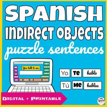 Spanish Indirect Object Pronouns Puzzle Sentences (hands-on activity)
