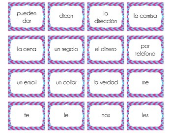 Spanish Indirect Object Pronouns Sentence Construction Activity