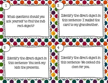 Spanish Indirect Object Task Cards