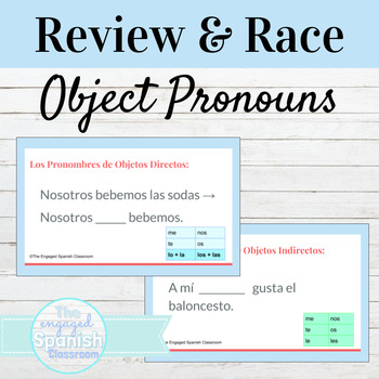 Spanish Indirect and Direct Object Pronouns Word Race Activity