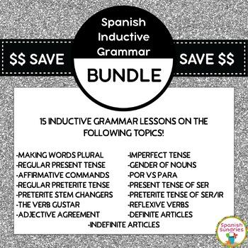 Spanish Inductive Grammar Lesson Bundle