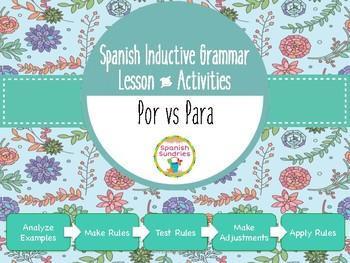 Spanish Inductive Grammar Lesson:  Por vs Para