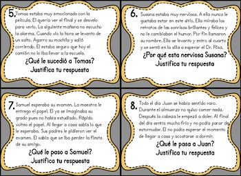 Spanish Inference Task Cards Tarjetas Sobre Inferencias