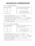 Spanish Infinitive Expressions Practice and Worksheet