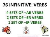 Spanish Verb Infinitives - 76 -AR/ER/IR - 91 Page Presentation & Flashcards