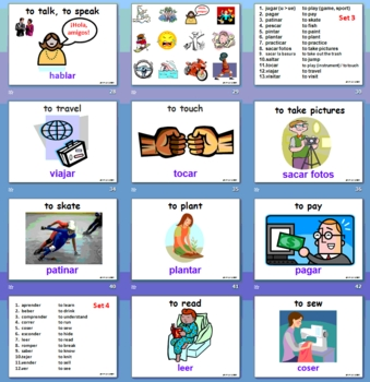Spanish Verb Infinitives - 76 -AR/ER/IR - 91 Page Presentation & Flashcards