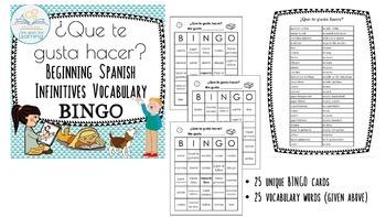Spanish Infinitives BUNDLE Vocabulary Flashcards & BINGO Que te gusta hacer?
