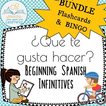 Spanish Infinitives BUNDLE Vocabulary Flashcards & BINGO Que te gusta hacer?