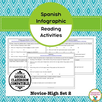 Spanish Infographic Reading Activities - Novice High Set 2