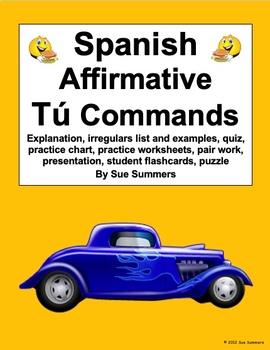 Spanish Commands Tu Affirmative Bundled Packet Homework & Reference