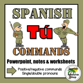 Spanish Informal Commands Grammar Notes and Practice Powerpoint BUNDLE