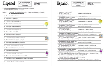 Spanish Informal Commands With House Vocabulary