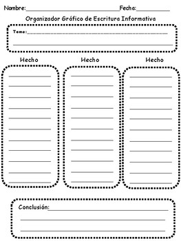 Spanish Informative Writing Graphic Organizer
