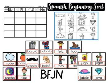 Spanish Initial Sound Sort BFJN