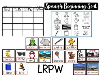 Spanish Initial Sound Sort LRPW