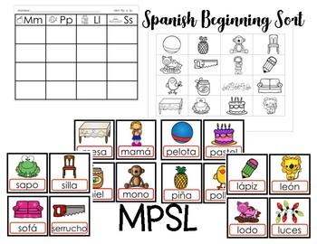 Spanish Initial Sound Sort MPSL