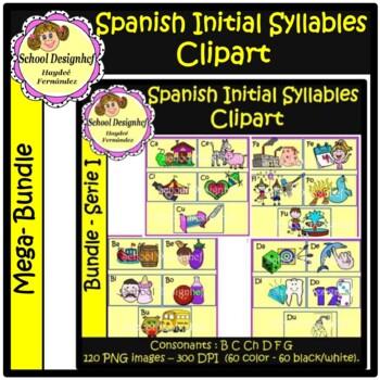 Spanish Initial Syllables Clip Art / Mega Bundle / Silabas Iniciales Español
