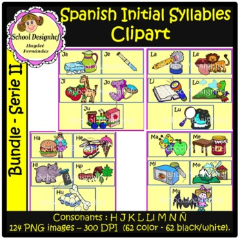 Spanish Initial Syllables ClipArt II - Silabas Iniciales Español ClipArt(Bundle)