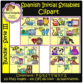 Spanish Initial Syllables ClipArt III- Silabas Iniciales Español ClipArt(Bundle)