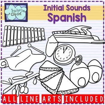 Spanish Alphabet Initial sounds clipart {Sonidos iniciales en español}