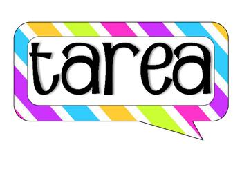 Spanish Tarea Sign- Stripes